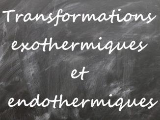 Transformations exothermiques et endothermiques