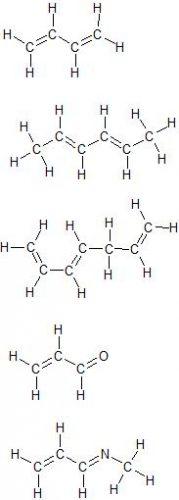 Exemples de molécules comportant deux doubles liaisons conjuguées