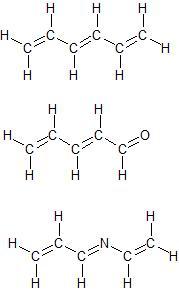 Exemple de molécules comportant trois doubles liaisons conjuguées