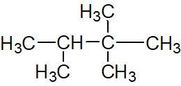 Exemple d'un alcane portant plusieurs fois le même substituant: le 2,2,3-triméthylbutane