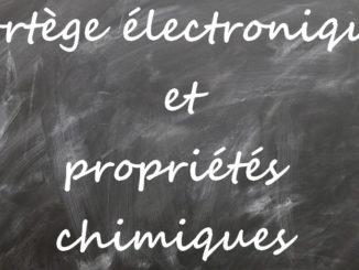 Cotège électronique et propriétés chimiques