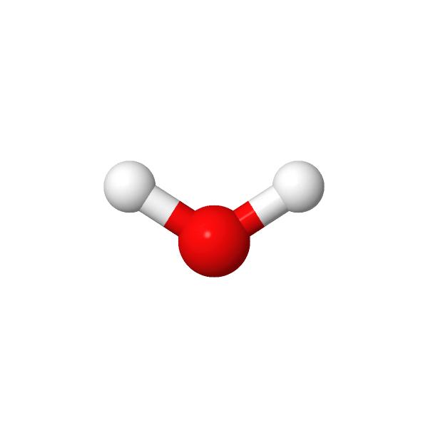 Molécule d'eau à géométrie coudée