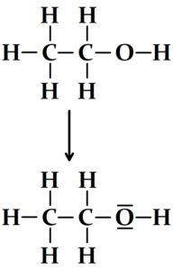 Passage de la formule développée de l'éthanol à sa représentation de Lewis