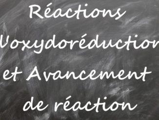 Réactions d'oxydoréduction et avancement