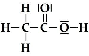 schéma de Lewis de l'acide éthanoïque