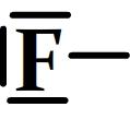 L'atome de fluor dans la représentation de Lewis d'une molécule.