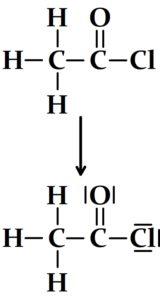 Passage de la formule développée du chlorure d'ethanoyle à son schéma de Lewis