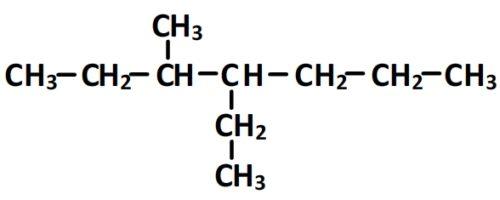 Formule semi-développée du 4-éthyl-3méthylheptane