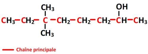 Chaîne principale du 6,6-diméthyloctan-2-ol