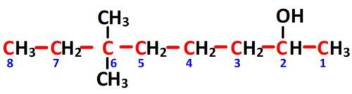 numérotation des carbones du 6,6-diméthyloctan-2-ol