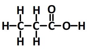 acide propanoïque, formule développée