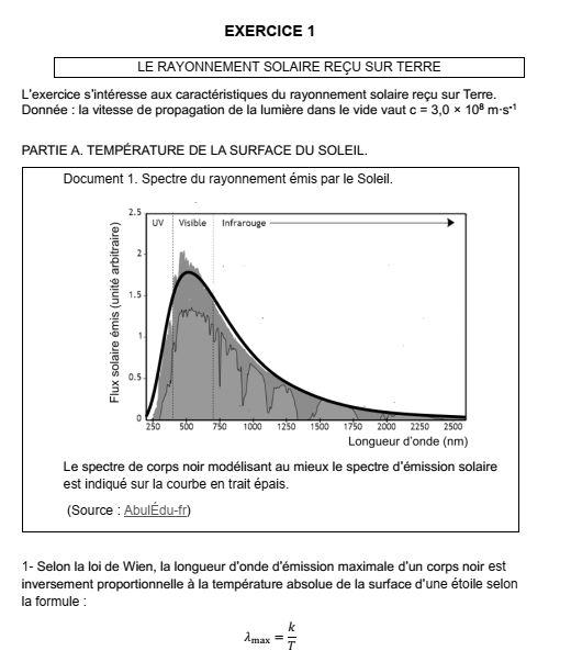 Enoncé exercice 1 - Sujet 56 - Enseignement scientifique - Le rayonnement solaire reçu sur Terre - Partie A - Question 1